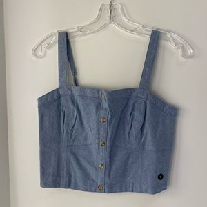 NWT Abercrombie & Fitch blue chambray crop top L